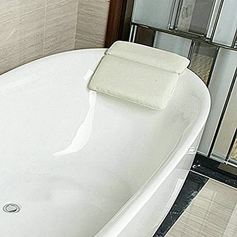 Angelbubbles Cuscini cuscino da bagno Cuscini poggiatesta Antiscivolo Memory Foam per collo della spalla di supporto (bianca)