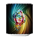 JY ART Duschvorhang Anti Schimmel Wasserdicht Duschvorhänge 3D Badvorhänge Duschvorhang 180x180 cm mit 12 Ringe - 3D Ölgemälde Mann BK052, Shower Curtain, 180*180cm