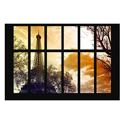 Papier peint intissé - Window Paris Tour Eiffel Coucher de soleil - panoramique Format paysage papier peint Photo Fonction 3d papier peint Wall-art papier peint peintures murales Chambre à coucher Salon Dimension Hxl : 320 cm x 480 cm