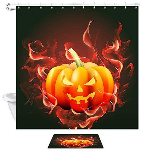 Aliyz Halloween Party Duschvorhänge Scary Burning Pumpkin in Schwarz für Herbst Festival Polyester Bad Vorhang Kinder Badezimmer Dekor Sets Duschvorhänge und Teppiche 71X71in