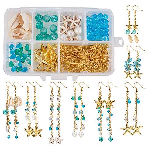 8 Paar Starfish Cowrie Shell Dangle Ohrring Making Kit Schmuckherstellung Zubehör Perlen Starter Kits für Anfänger Erwachsene, Angelhaken, Ocean Beach Theme ()