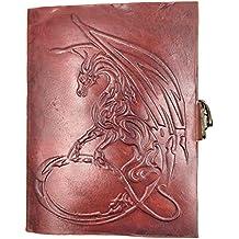 Chic & Zen–Cuaderno, bloc de notas, diario, libro, piel auténtica, Vintage, cierre metal, Dragon Medieval, 13cm x 17cm, papel Premium