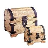 Casa Vivente – Geschenkboxen-Set – Große und Kleine Holztruhe mit Metall-Beschlägen – Schatztruhen aus Hellem Holz – Spardose – Bauernkasse – Vintage – Verpackung für Geldgeschenke Oder Schmuck