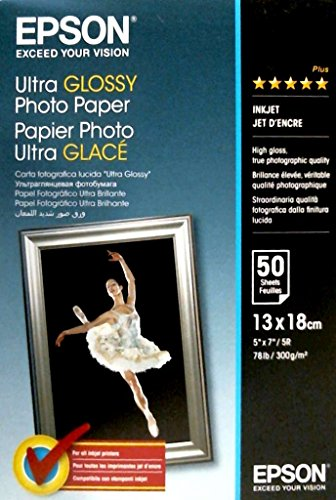 Epson Ultra Glossy Photopapier Inkjet 300g/m2 130x180 mm 50 Blatt Pack (Epson Glossy Photo Paper)
