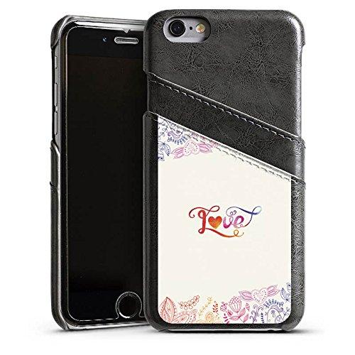 Apple iPhone 4 Housse Étui Silicone Coque Protection Amour Phrases Papillon fleurs Étui en cuir gris
