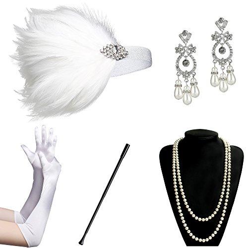 Damen Kostüm Flapper Für Gatsby Erwachsene - ArtiDeco 1920s Flapper Set Damen Gatsby Kostüm Accessoires Set inklusive Stirnband Halskette Handschuhe Ohrringe Zigarettenhalter (Set-7)