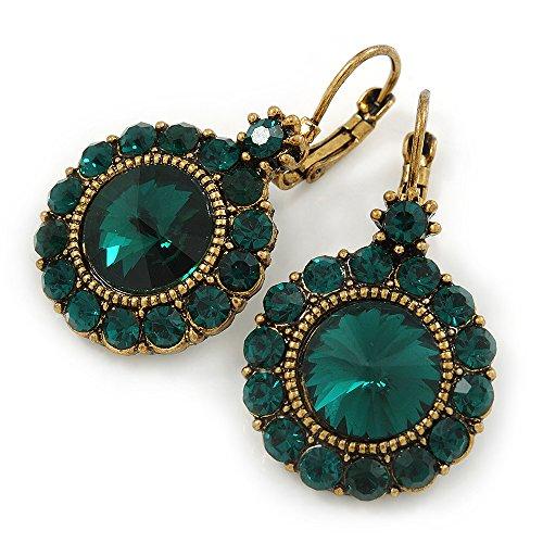 Vintage ispirato a taglio rotondo verde smeraldo pietra di vetro goccia orecchini con chiusura a monachella in oro antico metallo-40mm L