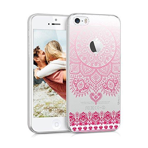 HULI Design Case Hülle für Apple iPhone SE / 5 / 5s Smartphone im Orientalischen Muster weiß/pink - Hülle aus TPU Silikon - Schutzhülle mit orientalischem Mandala Ornament - Handyhülle mit Druck