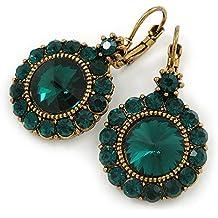045253093626 Vintage Inspirado redondo corte Esmeralda Verde Cristal Piedra Pendientes De  Gota Con Cierre De Cierre en