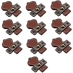 fbshop (TM) Retro Learther tiradores de cajón/pomos/asas/para armario armario maletín maleta armario de vino caja de madera caja de regalo Shoebox muebles Hardware, marrón, orificio individual