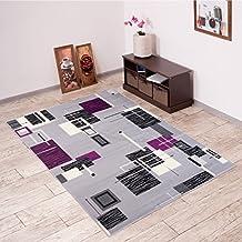 Alfombra De Salón Moderna – Color Gris Púrpura De Diseño Cuadrado – Suave – Fácil De Limpiar – Top Precio – Diferentes Dimensiones S-XXXL 200 x 300 cm