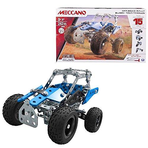 Meccano 15 in 1  Set Off Road Rally -  Juego de construcción de varios modelos de vehículos de 242 pieza(s), Metal y  Plástico, Colores Azul ( Plata y Negro)