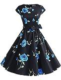 Dressystar Damen Vintage 50er Cap Sleeves Dot Einfarbig Rockabilly Swing Kleider Schwarz mit Blau Blumen XXL