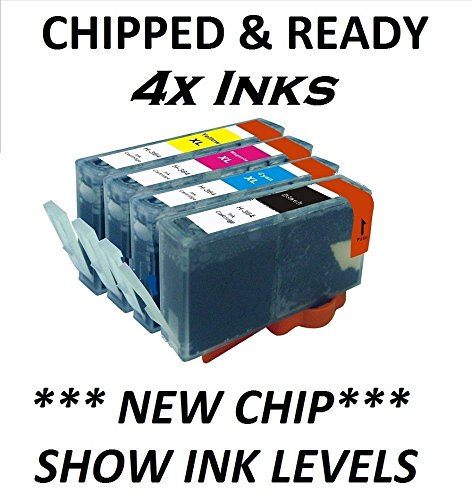 4x CHIPPED COMPATIBLE HP 364XL FULL SET COMBO PACK INK CARTRIDGES HP364. LATEST 2014 CHIP AND SHOW INK LEVELS. OFFICEJET 4610, 4620, 4622 PHOTOSMART B8553, B8558, C5324, C5370, C5373, C5380, C5383, C5388, C5390, C5393, C6300, C6324, C6340, C6350, C6380, C6383, D5445, D5460, D5463, D5468, D7560, B109, B110a, B111, B209, B210, B211, C309, C310, C410 5510e, 5515e, 5520, 5524, 6510, 6520, 7510, 7520 ALL IN ONE, PLUS OTHERS. 1X BLACK 24ml, 1X CYAN MAGENTA & YELLOW 15ml EACH, [Importado de UK]