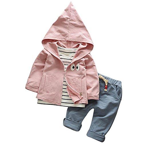 Hirolan 3 Stück Outfits Kleinkind Kind Bekleidungssets Baby Mädchen Jungen Streifen T-Shirt + Kapuzenpullover Mantel + Hosen Kleider Kinderkleidung Babyausstattung (Rosa, 80)
