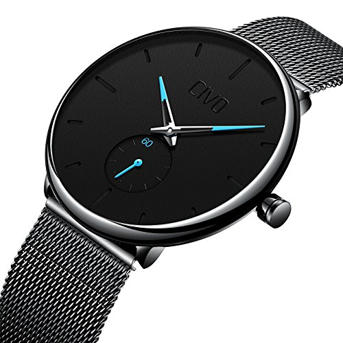 CIVO Herren Schwarz Ultradünne Uhr Minimalist Mode Luxus Armbanduhren für Männer Geschäft Kleid Lässig Wasserdicht Quarzuhr für Mann mit Edelstahl Mesh Band