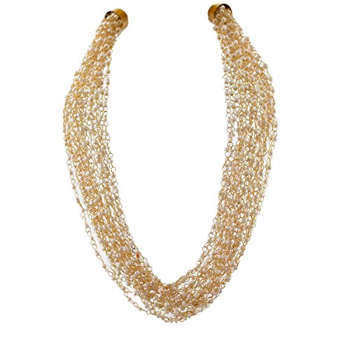 Zephyrr Hand Made Golden White Pearl Multi Strand Necklace For Women