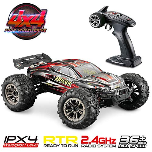 Hosim High Speed 36 km / h 4WD 2,4 GHz Ferngesteuerter LKW 9138, 1:16 Scale Radio Conrtolled Offroad RC Auto Elektronischer Monster Truck R / C RTR Hobby Geländewagen Buggy (Rot)