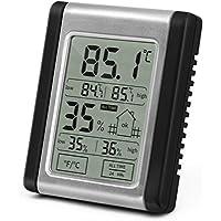 Lemebo Termómetro Higrometro digital LCD Pantalla Medidor Temperatura Medidor Temperatura y Humedad (Negro)