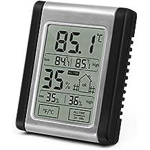 Lemebo Termometro Igrometro Digitale-Monitor umidità da interno con grande Schermo di Tocco Retroilluminato,Monitor di Umidità per interni, stazione del tempo (Nero)