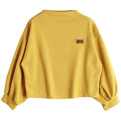 ZAFUL Damen Lantern Sleeve Badge Patched Rundhalsausschnitt Langarm Lose Bluse Strickpulli Hemd Shirt Oversize Sweatshirt Tops(Ginger)