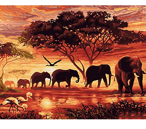 Puzzle 3D Puzzle 1000 Piezas Elefantes Paisaje Diy Arte Moderno De La...