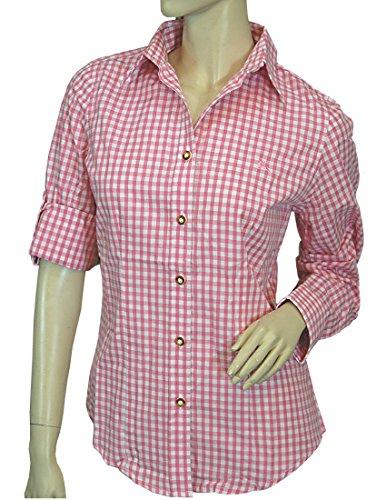 OS Trachtenbluse MARIE kariert tailliert mit Krempelärmel, Größen:44;Farben:rosa