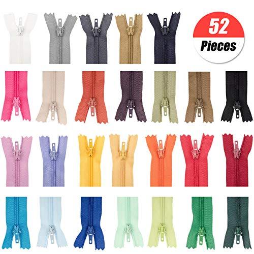 Yuchisx nylon cerniere lampo chiusure lampo per borse, set di chiusura lampo colorata in 26 colori diversi,cerniere a spirale in nylon multicolore per tessuto/vestito/zaino/diy