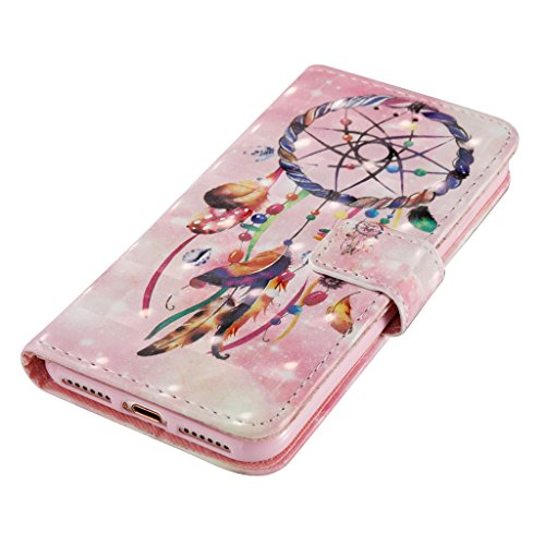 iPhone 7 Coque,Careynoce Papillon Fleur Capteur de rêves 3D Relief Retro Painted Pattern Conception Flip PU Cuir Housse Etui Coque Case Cover pour Apple iPhone 7 (4.7 pouces) -- Bleu Fleur M04