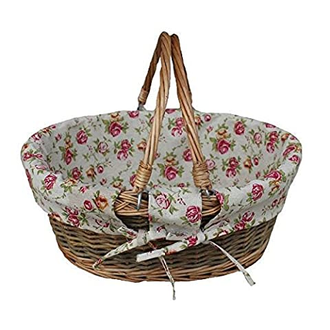 Country Swing Handle Wicker Shopping Basket with Garden Rose Lining