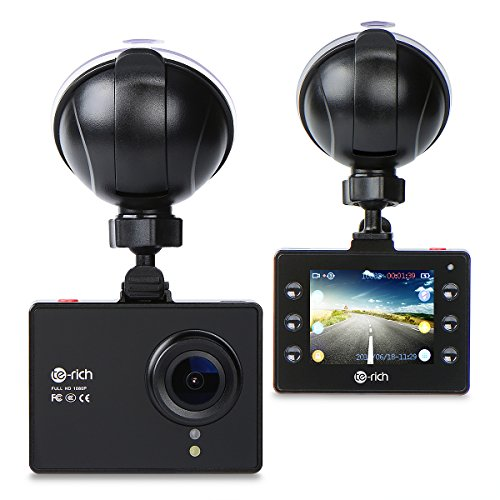 Price comparison product image Te-Rich Dash Cam Full HD 1080P Car Dashboard Camera DVR Video Driving Recorder With WDR, Loop Recording, 170 Degree Wide Angle 6G Lens, Parking Monitor, G-Sensor, Motion Detection, Night Vision