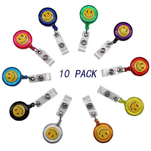ID Card Chun mit Badge Rollen Badge Holder mit Gürtel Clip Schlüssel Schlüsselanhänger Halter, verschiedene Farben, 10Stück (Gürtel-clip-schlüssel-halter)