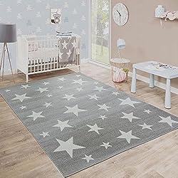 Alfombra Pelo Corto Estrellas Habitación Infantil Estampado Gris Blanco, varias medidas. Desde: 80 x 150 cm