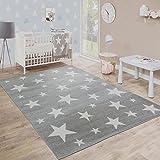 Paco Home Moderner Kurzflor Kinderteppich Sternendesign Kinderzimmer Star Muster Grau Weiß, Grösse:200x280 cm