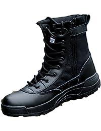 nihiug Scarpe da Trekking Uomo Impermeabile Nero Leggero Stivali Militari  High-Top Stivali da Combattimento cf5b62be40e