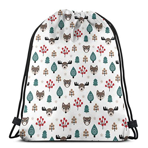 and Christmas Woodland Animals Moose Fox Wolf and Bear Kids Canada Theme Boys White Blue_10450 3D Print Drawstring Backpack Rucksack Shoulder Bags Gym Bag for Adult 16.9