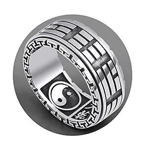 AmDxD S925 Sterling Silber Herren Ringe Einzigartig Ring Anti-Allergie Herrenringe