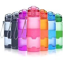Grsta Botella de agua deportiva- 400ml/14oz - sin BPA & a prueba de fugas, reutilizable de plastico tritan, agua botellas ideal con filtro para niños para niños, correr, gimnasio, yoga, aire libre y camping, 1-click apertura(Rosado)