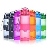 Grsta Bouteilles d'eau sport, 500ml gourdes eau, réutilisable tritan plastique, sans bpa & anti-fuite | grande bouteille fitness pour randonnée, voyager, yoga, gym, bidon vélo, VTT, les activités de plein air | gourde idéale pour enfants, cadeau | avec filtre & ouvrir en 1 clic(Rose)