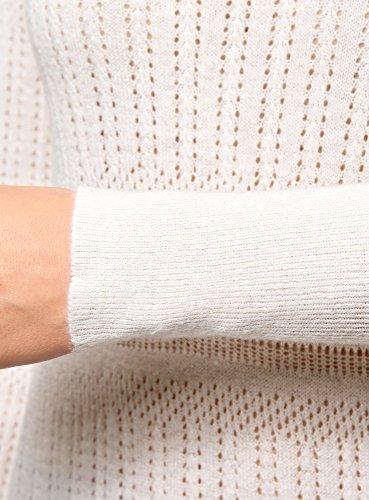 oodji Collection Damen Ajour-Pullover Fein Gestrickt Elfenbein (1200N)