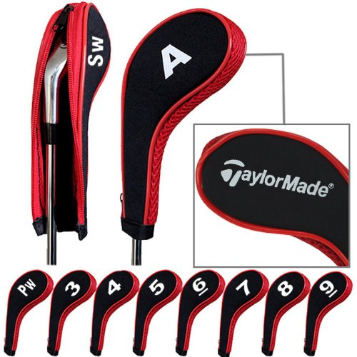 taylormade-number-print-golf-iron-covers-with-zipper-long-neck-10pcs-set-black-red-mt-tl03