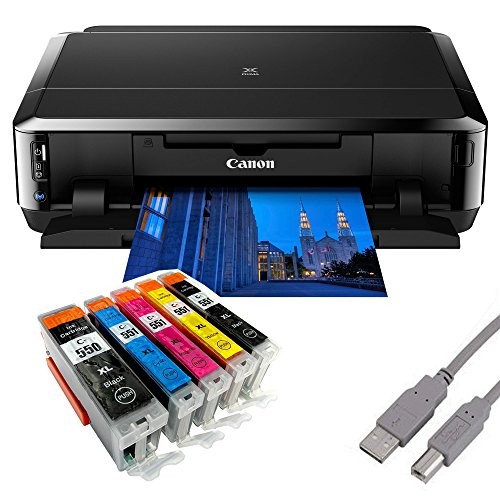 Canon Pixma iP7250 Tintenstrahldrucker mit WLAN Auto Duplex Druck (9600x2400 dpi, USB) + USB Kabel & 5 Youprint Tintenpatronen DRUCKER OHNE SCANNER OHNE KOPIERER Originalpatronen nicht enthalten (Drucker 7200 Canon)