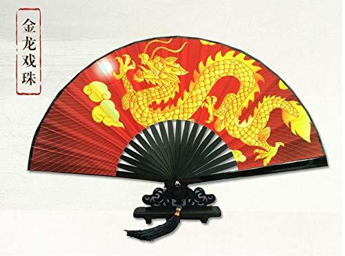 XIAOHAIZI Handklappventilator Kreativer Chinesischer Klassischer Faltfächer Goldener Drache Rote Männer Der Frauen des Mannes Faltender Fächerhauptdekorationen