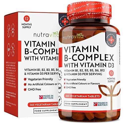 Suministro para 365 días de vitamina B-Compleja enriquecido con vitamina D - 8 formas de vitaminas B de alta potencia - Comprimidos vegetarianos - Producto elaborado en el Reino Unido por Nutravita