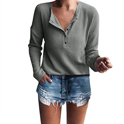 (♥ Loveso♥ Damen Basic Oberteile Langarm Bluse Mit Knopfleiste Shirt Oberteile Tops Damen Elegant Damenbekleidung)