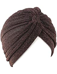 QHGstore Mujeres Twist plisado volante Chemo Pre atado Turbante Cap abrigo de pelo Cover Up Café