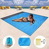 LGGYCD Coperta da Spiaggia - 210 X 200 Cm Impermeabile Leggero Senza Sabbia Tappetino da Spiaggia Coperta da Picnic All'aperto for Viaggi/Campeggio/Escursionismo (Blu Scuro) (Size : 1.4 * 2m)