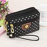 YANGPP Geldbörse Damen Münze Mehrschichtige Mini Leinwand Tasche Kleine Messenger Crossbody Taschen Für Frauen Weibliche Brieftasche, Wie Abgebildet