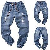 Herren Hose Ronamick männer lang Trainingshose Freizeithose Skinny Jeans Sporthose Jogginghose Sweatpants Winter Trousers Warm Sporthose (XXXL, Blau)
