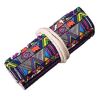 LINGJUN Bonito Estuche Enrollable de Estampado Étnico para Lápices Bolsa de Almacenamiento Bolso de Lona Lavable del Lápiz Portalápices de Oficina Escuela